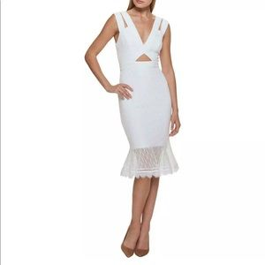 Guess white lace cut out mermaid dress